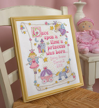 "Bucilla Counted Cross Stitch Kit 10""X13""-Princess Birth Record (14 Count) - $24.57"