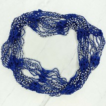 Silver Beaded Studded Blue Open Knit Infinity Scarf - $7.10
