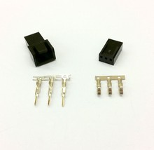 MALE & FEMALE 3 PIN PC FAN LED POWER CONNECTORS - 1 OF EACH- BLACK INC PINS - $2.45