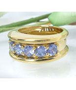 Technibond Tanzanite CZ Ring 18K Yellow Gold over Sterling Size 7 - $38.00