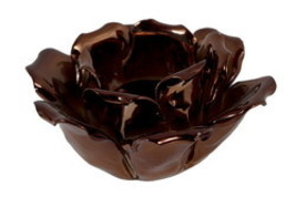 Impressive Plated Ceramic Rose Votive Holder - $29.48