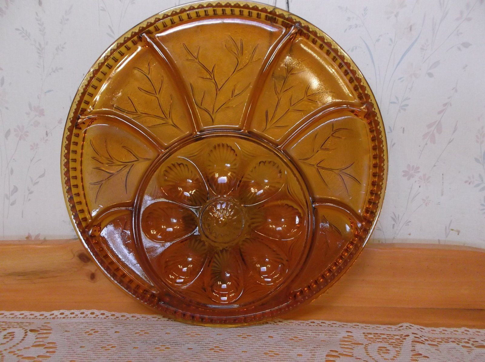 Beautiful Vintage Indiana Glass Deviled Egg And Relish Platter *MINT*