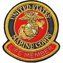 USMC LOGO Gold Bullion Life Member Patch - $1,000.00