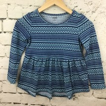 Gymboree Girls Sz 7 Skirted Sweater Blue Striped Long Sleeve Pullover Top - $9.89