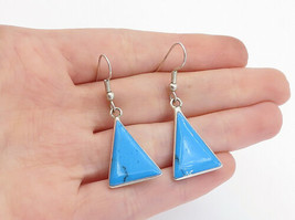MEXICO 925 Sterling Silver - Vintage Turquoise Triangle Dangle Earrings - E9467 - $23.75
