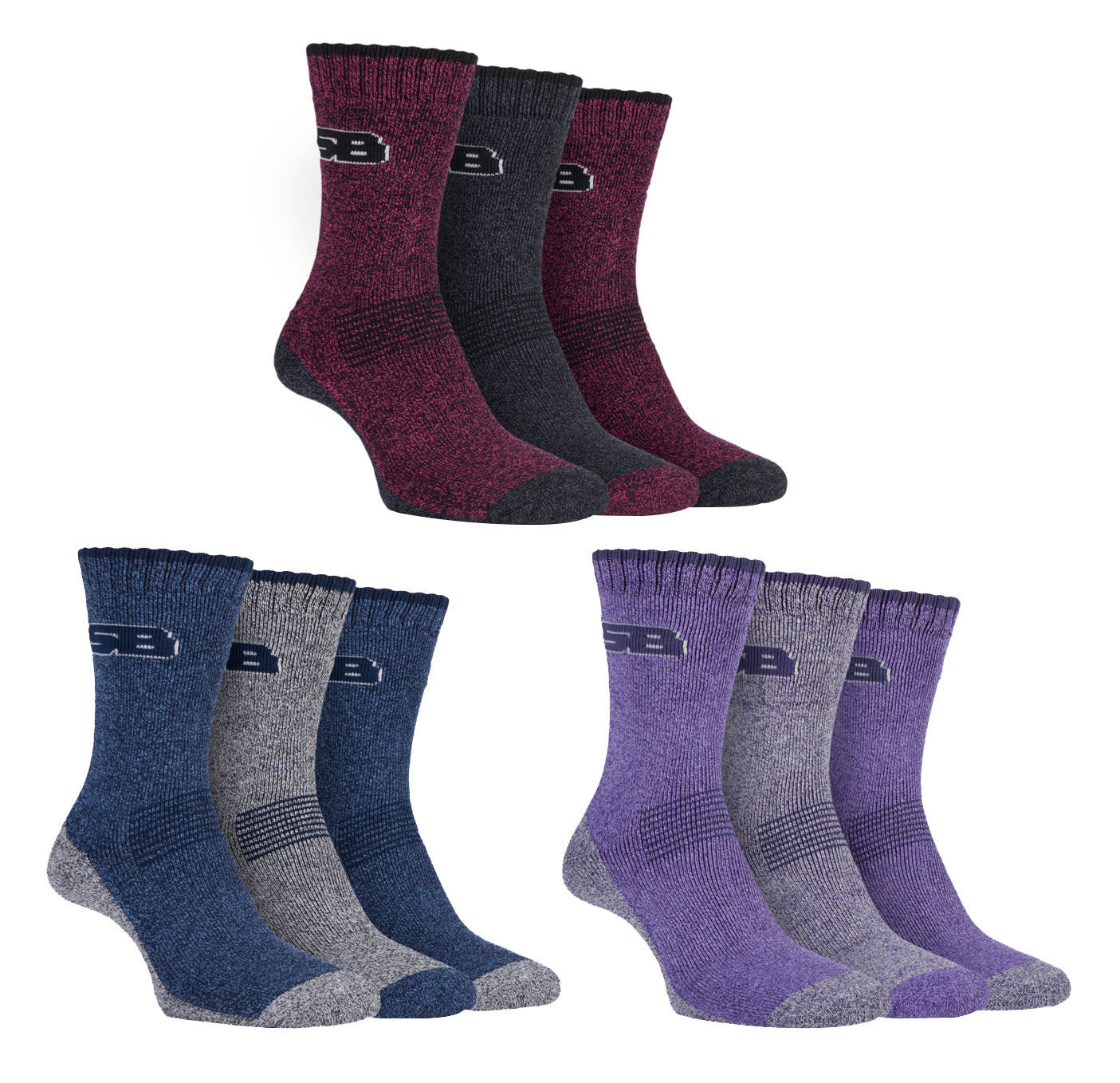 Storm Bloc - 3 Pack Womens Cushioned Lightweight Hiking Walking Socks for Summer
