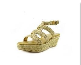 NIB$270 Stuart Weitzman Haiti Oro Gold Crochet Designer Wedges Sandals Heels 10M - $89.99