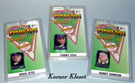 Mlb - 3 1999 Pinheads Collectible Pins - Sammy Sosa, Derek Jeter, Randy Johnson - $15.43