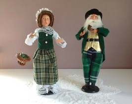 "Irish Christmas Carolers 12"" Man & Woman Posable - $21.77"