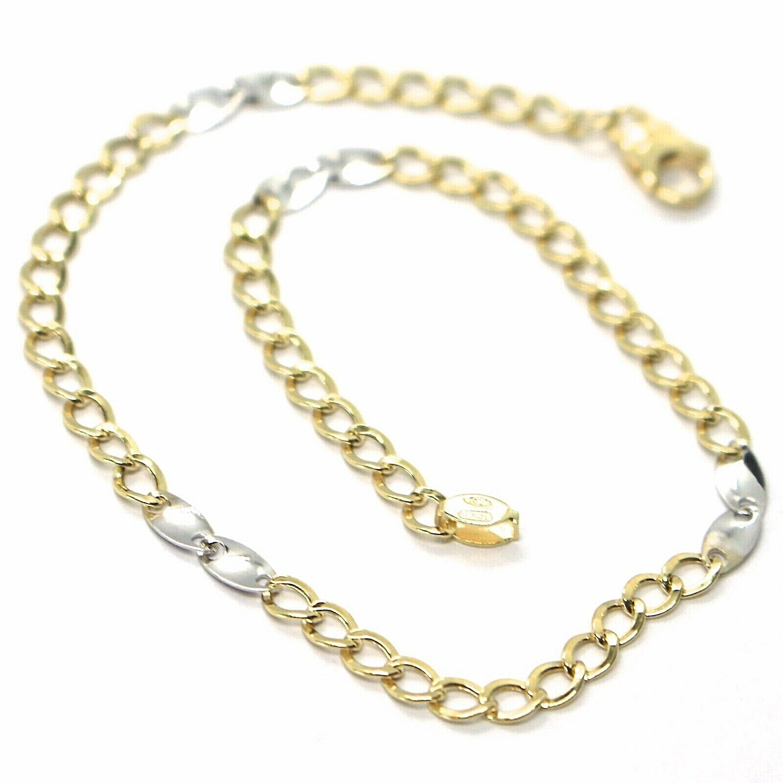 Bracelet Yellow and White Gold 18K 750, Curb and Double Ovals Alternating, 3 MM
