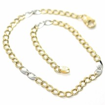 Bracelet Yellow and White Gold 18K 750, Curb and Double Ovals Alternatin... - $224.38