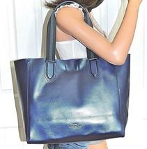 COACH Navy Blue Metallic Handbag Tote Bag Large Leather Derby Purse NWT ... - €138,00 EUR