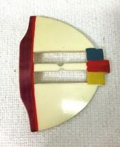 Vintage Deco Belt Buckle Ribbon Slide Hand Painted 3 3/4 x 2 3/4 T43 - $18.32