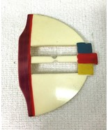 Vintage Deco Belt Buckle Ribbon Slide Hand Painted 3 3/4 x 2 3/4 T43 - $18.32
