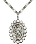 Miraculous Medal/Pendant - Sterling Silver on a 24 inch Rhodium Heavy Cu... - $79.99