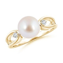 8mm Cultured Akoya Pearl Diamond Ring Silver/14K Gold Size 3-13 - $378.38+