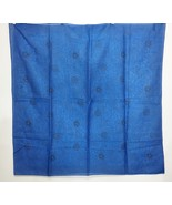 "Ann Taylor Royal Blue Black Leaves Floral Cotton Scarf 35"" Square Made i... - $32.28"