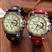Round Chronos Unique Women Watches Vintage Leather Men Formal Wristwatch - $9.99