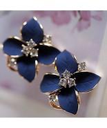 Fashionable Elegant Cute Lady Girls Blue Flower Crystal Ear Stud Earrings - $11.95