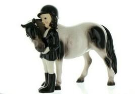 Hagen Renaker Specialty Horse Girl with Pinto Pony Ceramic Figurine image 1