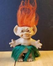 Vtg Uneeda Troll Doll Hula Dancer Orange Hair Rooted Grass Skirt Pointed Ears - $9.89