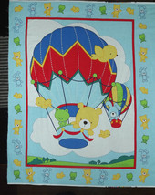Galaxy Up Up And Away Hot Air Balloon Blue Panel Quilt Fabric Baby Anima... - $9.89