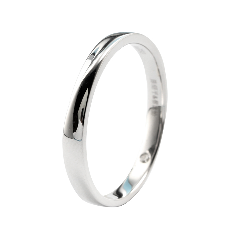 Minimalism 14K White Gold Men Engagement Wedding Ring Band Introverted Love