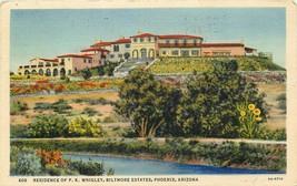Linen Postcard AZ L371 Residence Wrigley Biltmore Estate Phoenix 1938 Curt Teich - $7.50