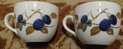 """Royal Worcester Evesham (2) Cups 2 5/8"""" Tall Fruit Gold (more available)"""