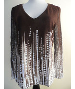 Nygard Collection Beige Brown Knitt Small Beads V-Neck Top Pullover sz M... - $21.29