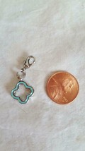 Nnt Authentic Origami Owl Open Clover Enameled Aqua Dangle Lobster Clasp Charm - $4.94