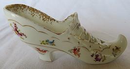 Vintage Miniature Shoe Figurine Porcelain Gold Floral Motif Saxonia Germ... - $30.00