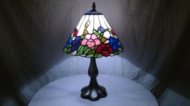Vintage Tiffany Style Unused Estate Find Stained Glass Shade on Metal Ba... - $189.05