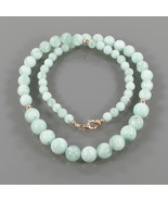 Designer Necklace - Green Angelite Round Beads with Gold Plated 925 Silv... - $39.99