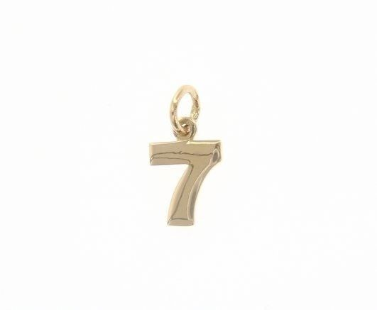 18K YELLOW GOLD NUMBER 7 SEVEN PENDANT CHARM, 0.7 INCHES, 17 MM, MADE IN ITALY