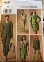 Vogue V9094 Wardrobe Pattern Jacket, Top, Dress, and Pants Uncut Sizes 8-16 - $26.43
