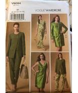 Vogue V9094 Wardrobe Pattern Jacket, Top, Dress, and Pants Uncut Sizes 8-16 - $26.43