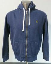 Polo Ralph Lauren Full Zip Sweater Size XL Blue Solid Long Sleeve Hooded Waffle - $34.64