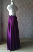PLUM PURPLE Chiffon Maxi Skirt Purple Wedding Chiffon Skirt (US0-US30) image 6