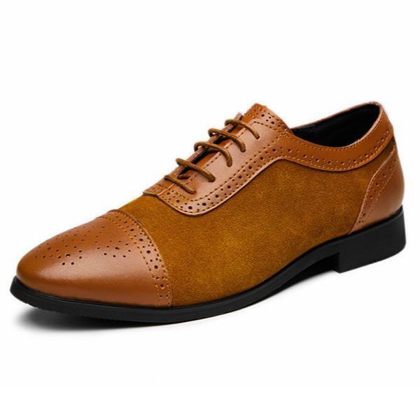 Handmade Men's Tan Color Leather & Suede Shoes, Cap Toe Brogue Dress Formal