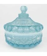 Mosser Aqua Blue Opalescent Glass Covered Candy Dish Eyewinker Pattern - $25.00