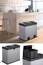 Grey Kitchen Recycle Bin Double Compartment Foot Pedal Waste Rubbish Sep... - $138.02