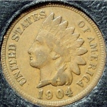 1904 Indian Head Cent F12 FULL LIBERTY #0241 - $3.29