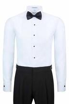 Berlioni Italy Men's White Tuxedo Dress Shirt Laydown Collar Bow-Tie  2XL image 2