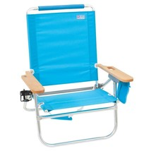 Folding Beach Chair with Drink Holder and Pouch Blue Lightweight Aluminu... - $50.76