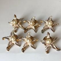 Vtg Starfish Faux Pearl Rhinestone Enamel Gold Tone Pin Brooch Lot of 6 ... - $24.74