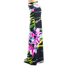 Womens Purple Floral High Waist Slim Fit Long Maxi Skirt S M image 2