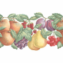 Double Die Cut Fruit Wallpaper Border Yellow, Red, Purple, Green Norwall... - $18.99
