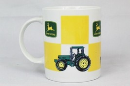 John Deere Tractor Advertising Yellow Checkered Ceramic Coffee Mug Cup 8 Oz - $19.79