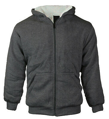 Boys Kids Athletic Sherpa Lined Zip Up Hoodie Sweater Jacket W/ Defect LARGE